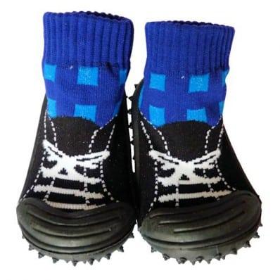 Chaussons-chaussettes bébé antidérapants semelle souple | Basket noires et bleu