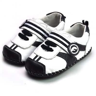 FREYCOO - Zapatos de bebe primeros pasos de cuero niños | Zapatillas de deporte blancas