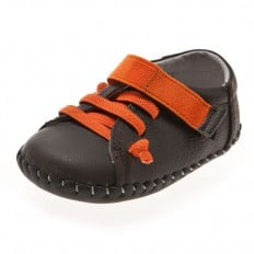 Little Blue Lamb - Baby boys first steps soft leather shoes | Brown sneakers with orange laces
