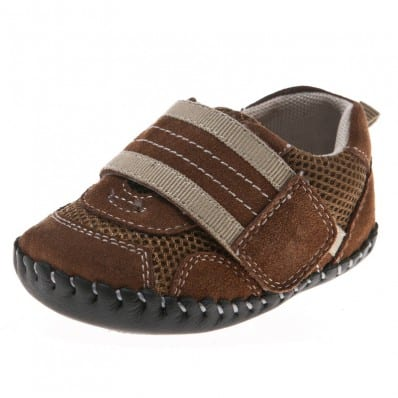 Little Blue Lamb - Baby boys first steps soft leather shoes | Brown sneakers