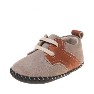 Little Blue Lamb - Chaussures premiers pas bébé en cuir souple | Baskets gris et marron