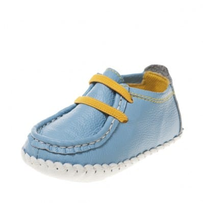 Little Blue Lamb - Baby boys first steps soft leather shoes | Blue boat