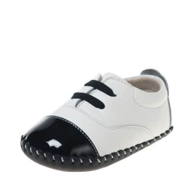 Little Blue Lamb - Baby boys first steps soft leather shoes | White and black sneakers