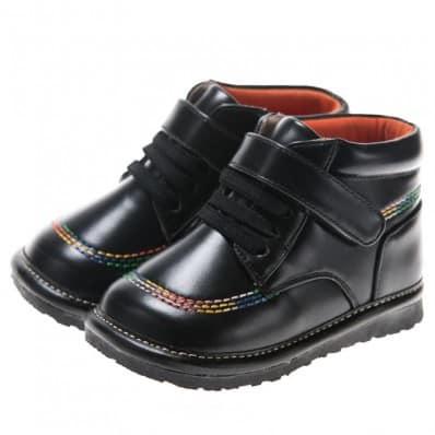 Little Blue Lamb - Zapatos de cuero chirriantes - squeaky shoes niños | Botines negros