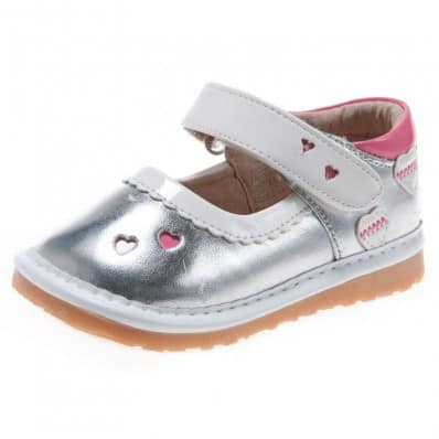Little Blue Lamb - Squeaky Leather Toddler Girls Shoes | Silver babies