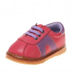 Little Blue Lamb - Zapatos de cuero chirriantes - squeaky shoes niñas |  Zapatillas de deporte azul y rosa oscuro