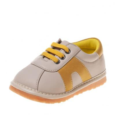 Little Blue Lamb - Squeaky Leather Toddler boys Shoes | Beige and yellow sneakers