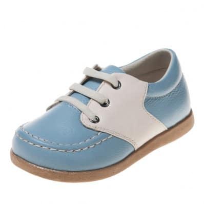 Little Blue Lamb - Krabbelschuhe Babyschuhe Leder - Jungen | Blau und weiß