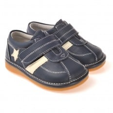 CAROCH - Squeaky Leather Toddler boys Shoes | White star blue sneakers