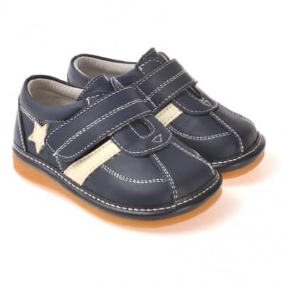 CAROCH - Krabbelschuhe Babyschuhe squeaky Leder - Jungen | Blau und weiße stern sneakers