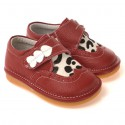 CAROCH - Squeaky Leather Toddler Girls Shoes | Red babies with 3 hearts cow