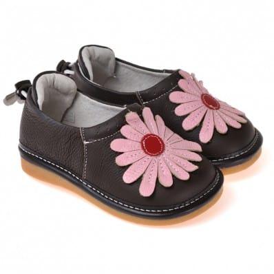 CAROCH - Chaussures à sifflet | Babies noires grosse fleur rose