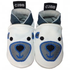 Chaussons bebe cuir souple | Ours blanc