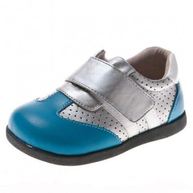 Little Blue Lamb - Chaussures semelle souple | Baskets argent et bleu