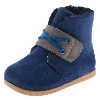 Little Blue Lamb - Chaussures semelle souple | Bottines velours bleu