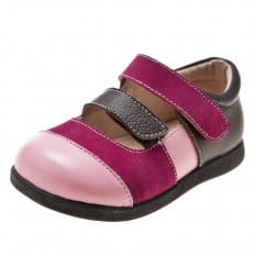 Little Blue Lamb - Soft sole girls Toddler kids baby shoes | Pink and fushia smart shoes