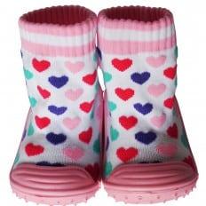 Chaussons-chaussettes enfant antidérapants semelle souple | Coeurs