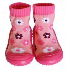 Baby girls Socks shoes with grippy rubber | Fushia flowers
