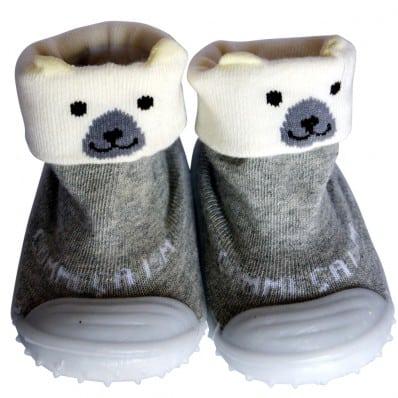 Chaussons-chaussettes enfant antidérapants semelle souple | Ours polaire