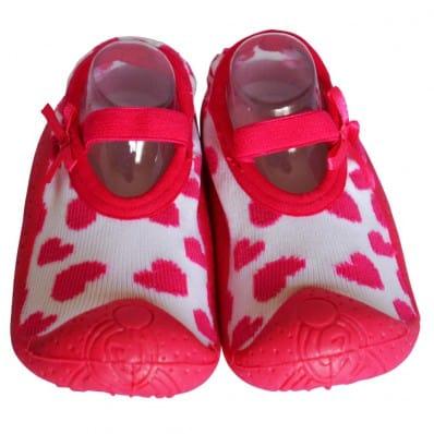 Hausschuhe - Socken Baby Kind geschmeidige Schuhsohle Mädchen   Ballerinas Herzen