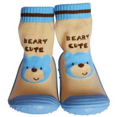 Hausschuhe - Socken Baby Kind geschmeidige Schuhsohle Mädchen Junge   Blau bär