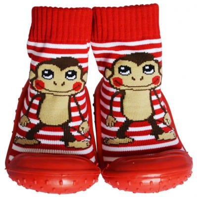 Baby boys Socks shoes with grippy rubber   Monkey red