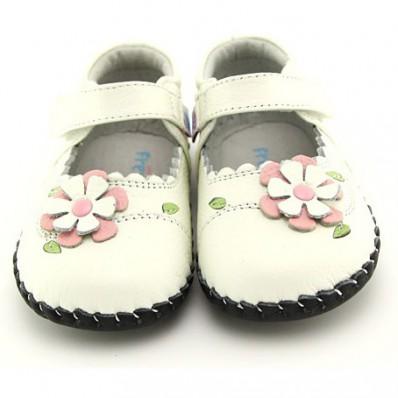 Chaussures premiers pas cuir souple babies à fleur