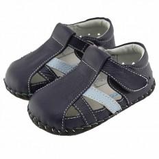 FREYCOO - Chaussures bebe premiers pas cuir souple | Sandales fermées bleu marine