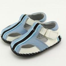 FREYCOO - Zapatos de bebe primeros pasos de cuero niños | Sandalias azul venda a negra
