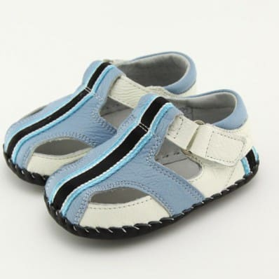 FREYCOO - Scarpine primi passi bimba in morbida pelle | Sandali blu banda nera