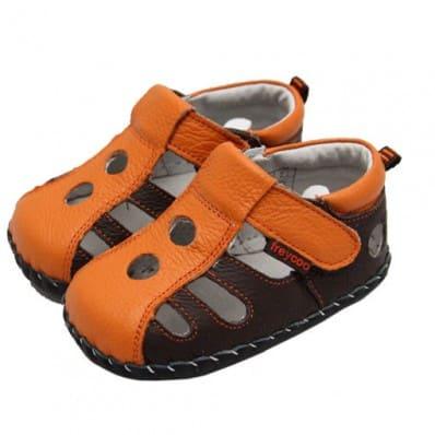 FREYCOO - Zapatos de bebe primeros pasos de cuero niños | Sandalias cerradas marrones y anaranjadas