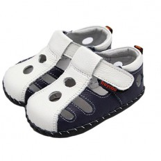 FREYCOO - Baby boys first steps soft leather shoes | White blue closed sandals