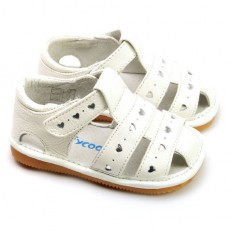 FREYCOO - Squeaky Leather Toddler Girls Shoes | White sandals with small hearts