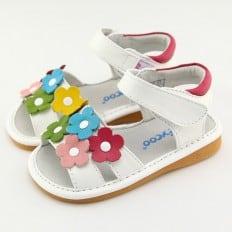FREYCOO - Krabbelschuhe Babyschuhe squeaky Leder - Mädchen | Weiß sandalen gefärbte blumen