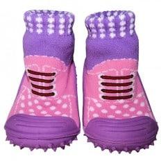 Chaussons-chaussettes enfant antidérapants semelle souple | Baskets rose et violette