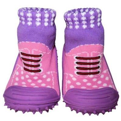 Calcetines con suela antideslizante para niñas   Zapatillas de deporte rosas y morada