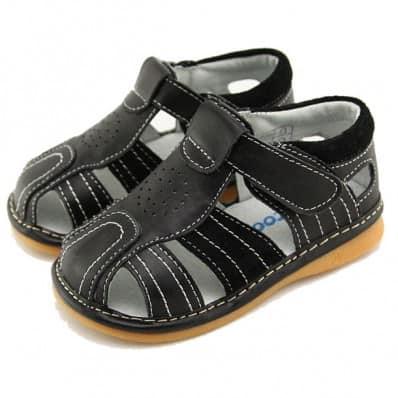 FREYCOO - Krabbelschuhe Babyschuhe squeaky Leder - Jungen   Schwarz sandalen