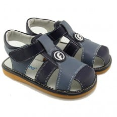 FREYCOO - Squeaky Leather Toddler boys Shoes | Blue sandals