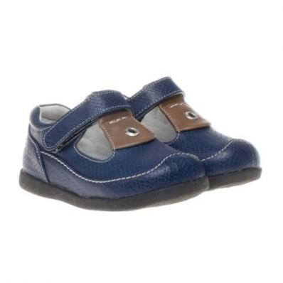 Little Blue Lamb - Soft sole boys Toddler kids baby shoes | Navy blue open shoes