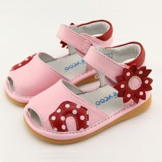 FREYCOO - Squeaky Leather Toddler Girls Shoes | Pink sandals with red flower