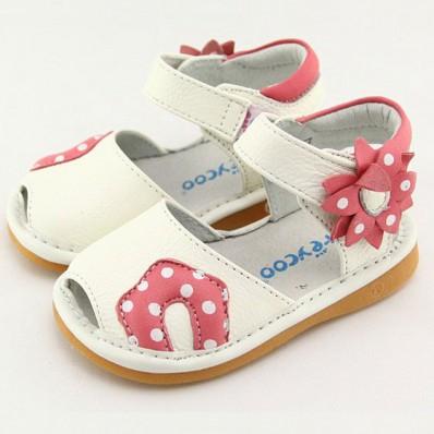 FREYCOO - Krabbelschuhe Babyschuhe squeaky Leder - Mädchen | Weiß sandalen mit pink blume