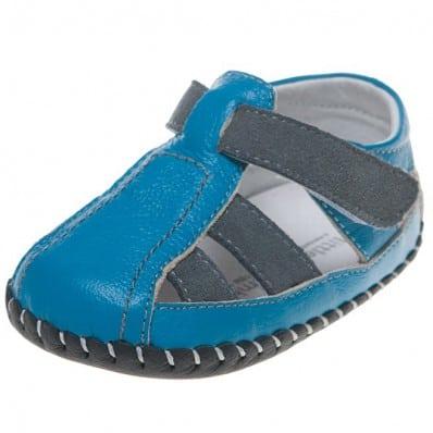 Little Blue Lamb - Scarpine primi passi bimba in morbida pelle   Blu e marroni sandali