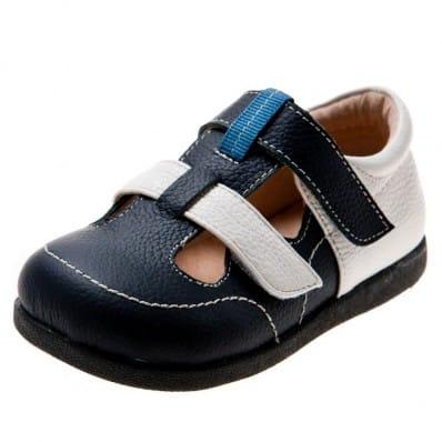 Little Blue Lamb - Soft sole boys Toddler kids baby shoes   Navy blue sandals