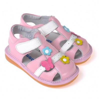 CAROCH - Scarpine bimba primi passi con fischietto   Sandali rosa e bianco con fiore