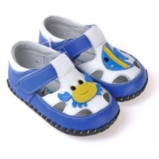 CAROCH- Baby boys first steps soft leather shoes   Blue sandals with crab