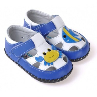 CAROCH- Baby boys first steps soft leather shoes | Blue sandals with crab