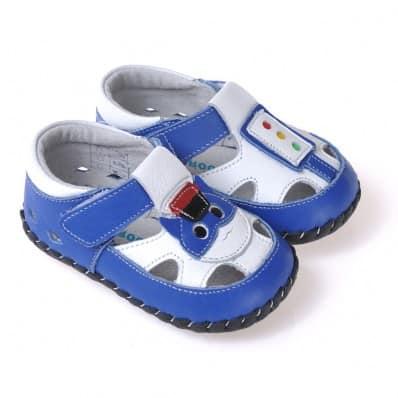 CAROCH - Chaussures 1er pas cuir souple | Sandales bleu petit chat