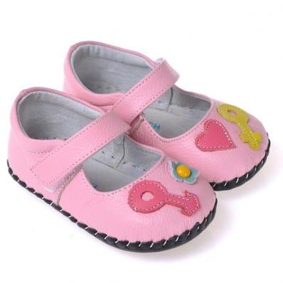 CAROCH - Chaussures premiers pas cuir souple | Babies rose coeur fushia