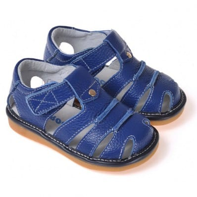 CAROCH - Squeaky Leather Toddler boys Shoes | Blue sandals