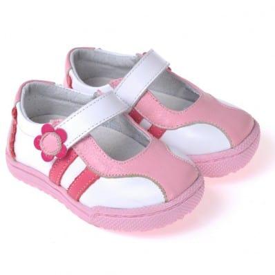 CAROCH - Chaussures semelle souple | Baskets blanches et rose